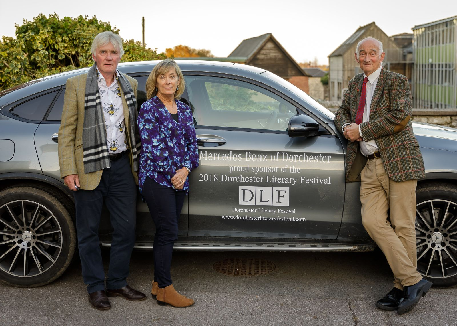 Festival Cars courtesy of Mercedes with Co Directors Janet Gleeson, Paul Atterbury and Sponsorship Director Paul Gleeson